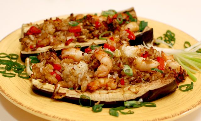 Seafood Stuffed Eggplant: replace butter with less MTC Oil to make this THM E