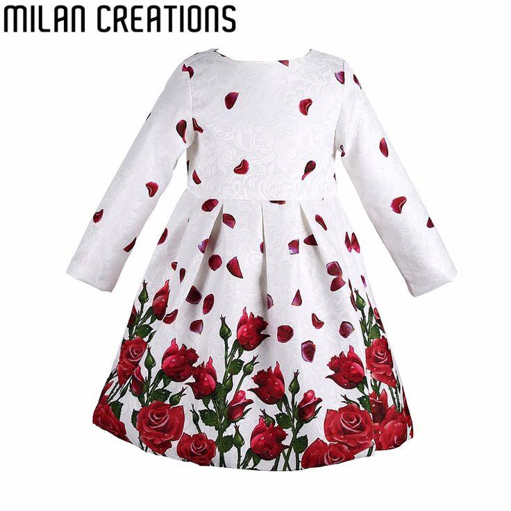 Costumes Princess Dress Girl Christmas Dress Long Sleeve Autumn Winter Kids Clothes Rose Floral Children Dress for Girls