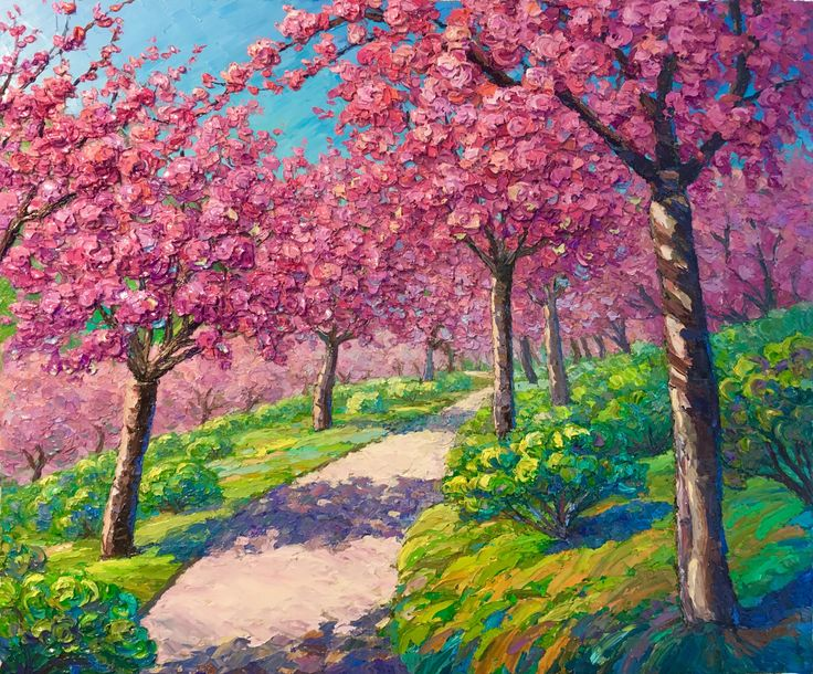 spring celebration original oil impasto painting cherry blossom japanese garden balboa park pink landscape landscape painting pinterest - Japanese Garden Cherry Blossom Paintings