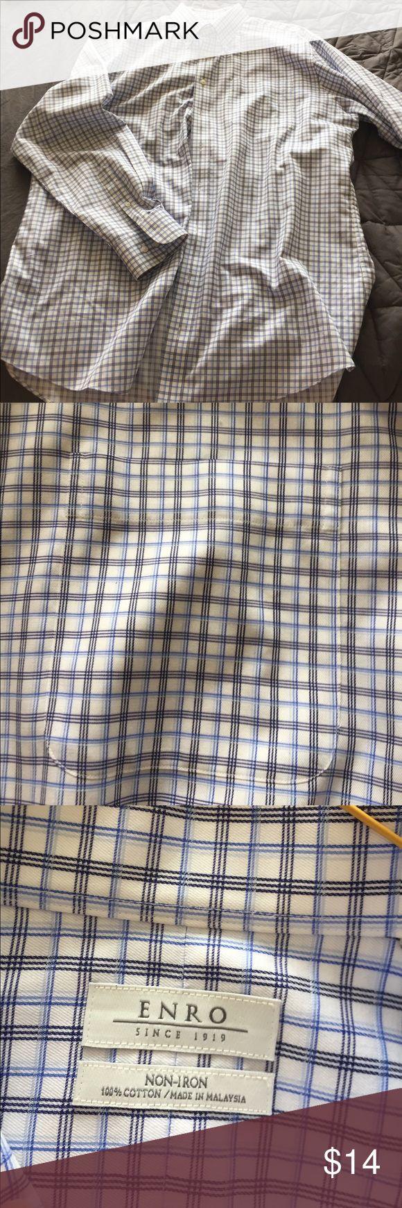 Men's Enro non-iron dress shirt Light and dark blue plaid; 17.5 neck; 36-37 Enro Shirts Dress Shirts