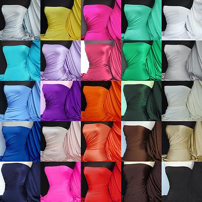 Shiny lycra 4 way stretch fabric material various colors FREE P&P