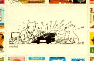 Alt center of Tintin labels sheet