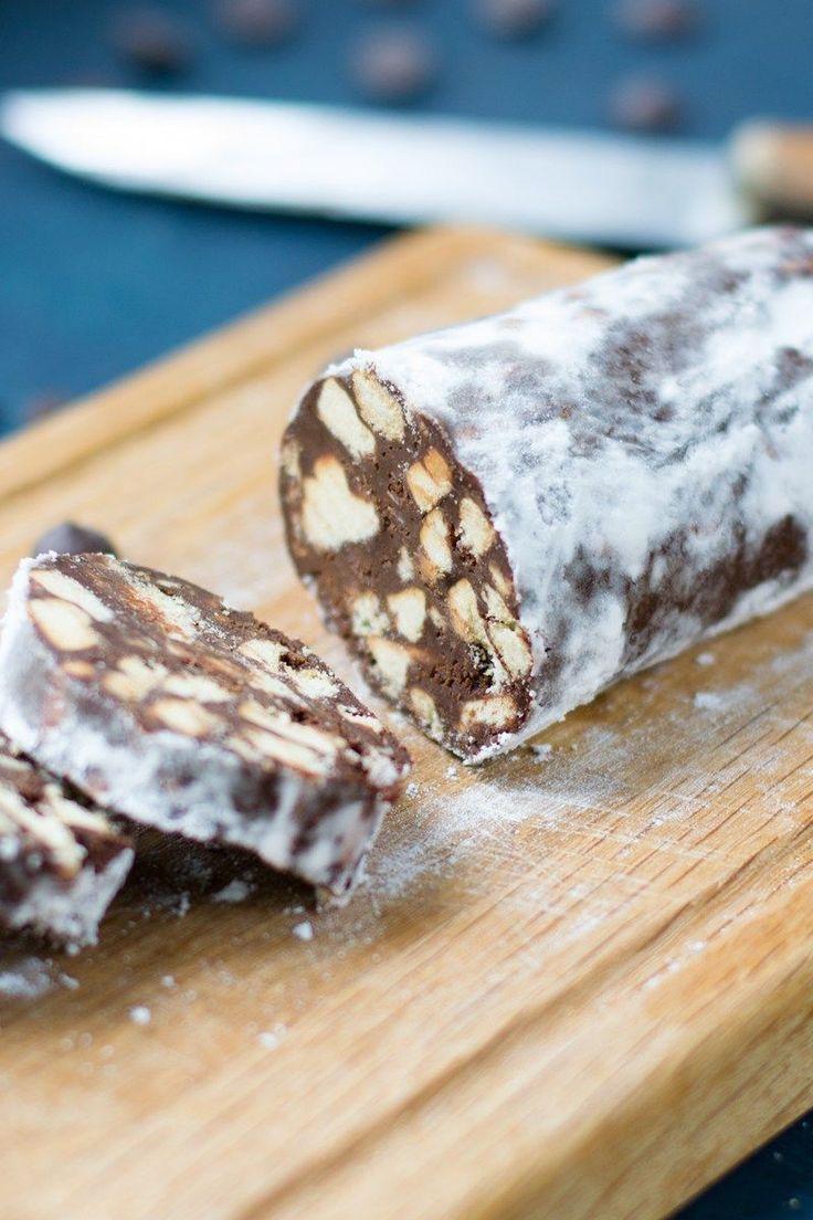 Course(s): Dessert; Ingredients: almonds, brewed coffee, cookies, orange zest, powdered sugar, semi-sweet chocolate chips, unsalted butter, walnuts