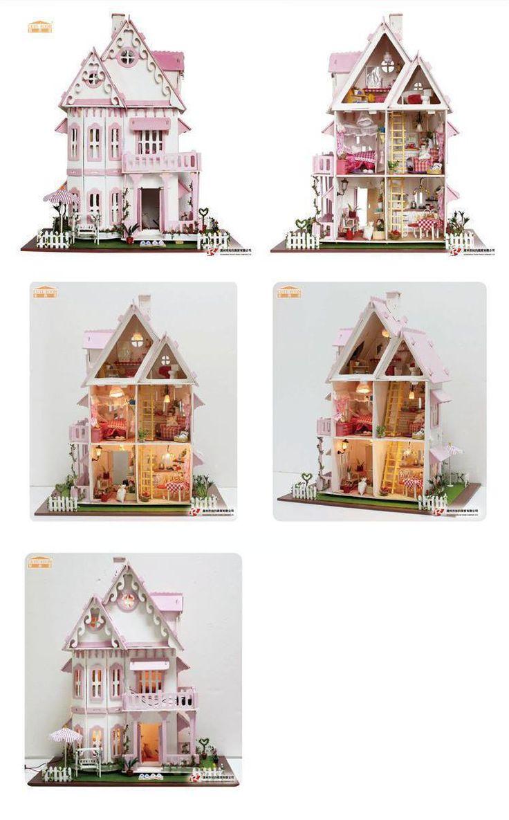 Горячие Продажи DIY Кукольный Дом Деревянный Миниатюрный кукольный домик Миниатюре Куклы Дома С Мебелью Комплект Вилла СВЕТОДИОДНЫЕ Фонари Подарок На День Рождения x 001 купить на AliExpress