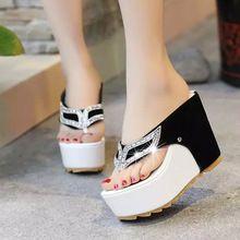 2016 Nueva Europa Clip de Dedo Del Pie de Las Cuñas Impermeables Zapatos de Diamante Puro Ultra Viscosa Sandalias de Tacón Zapatos de Mujer Flip Flop Sandalias de Plataforma(China (Mainland))
