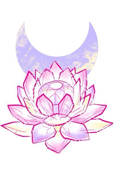 No crystal...  the lotus and moon are pretty