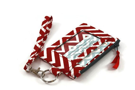 ID Wristlet / Wallet in Red and White by BonnieCustomCreation