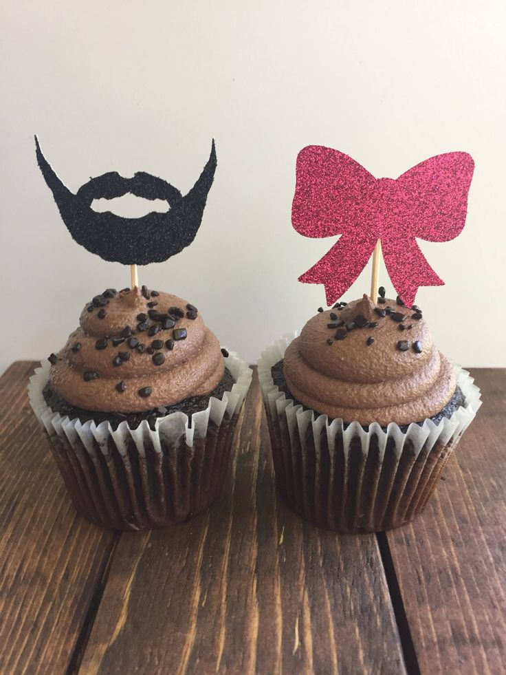 Beards or Bows Gender Reveal / Beards or Bows Cupcake Toppers / Gender Reveal Party Decor / FAST processing / Quick Ship Cupcake Toppers by LittleParteeShoppe on Etsy