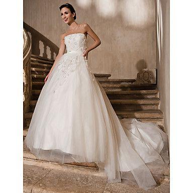 bata de pelota Strapless catedral de encaje de tren y vestido de tul de bodas – Light in the box