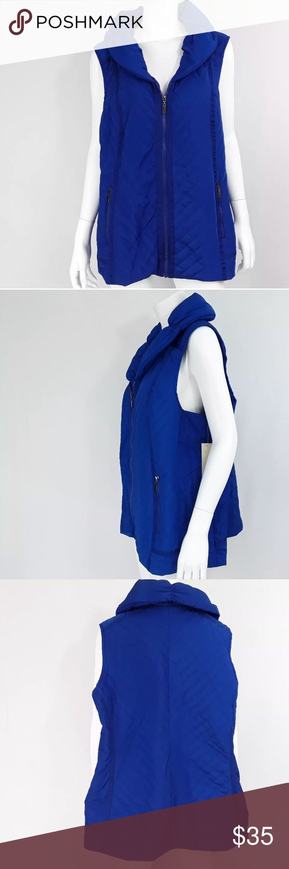 """Quilted Puffy Vest with Unique Collar Royal Blue Brand New with Tags, Original Price $88  Measurements taken laying flat:  Underarm to Underarm: 25""""  Shoulder to hem: 28.5"""" Laura Ashley Jackets & Coats Vests"""