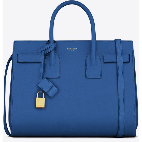 Saint Laurent Classic Small Sac De Jour Bag In Royal Blue Leather ($2,750) ❤ liked on Polyvore