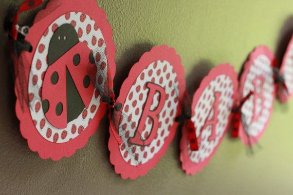 Lady Bug Baby Shower Banner by calladoo on Etsy, $16.00
