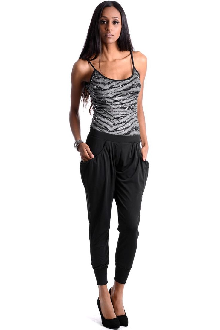 Shiny Black Harem Trousers. These trousers are one size (UK 8-12)
