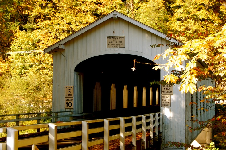 Goodpasture Bridge spans the McKenzie River near Vida, OR. It is the second longest covered bridge and one of the most photographed covered bridges in the state.
