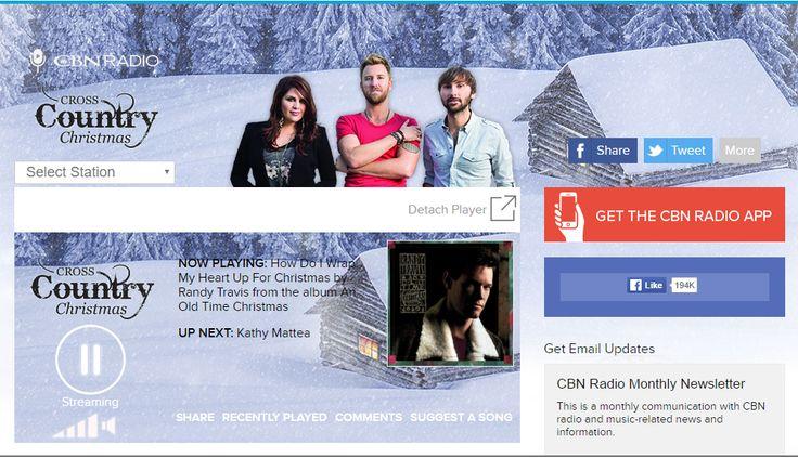 http://www1.cbn.com/radio/crosscountrychristmas -- Country Christmas Music all year!! (In Japanese:CBN.Comによるカントリーミュージックシンガーが歌うカントリー風独特ののクリスマス・ソング。)