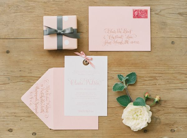 Pink wedding stationery. Maybe something like this for the invites, but with more of your colors?