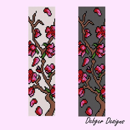 beading loom patterns for free | Cherry Blossom Tree Loom Bracelet Cuff by Debger Designs