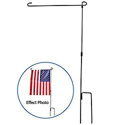 Garden Flag Stand, HOOSUN Premium Garden Flag Pole Holder Metal Wrought Iron Powder-Coated Weather-Proof Paint 36.5″ H x 16.5″ W (3 Piece Set Black) (1)
