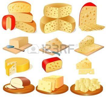 queso crema: Ilustración de un conjunto de diferentes tipos de queso