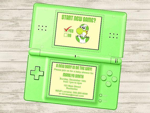 Video Game Yoshi Baby Shower/Party Invitation (Customizable DIY Printable)