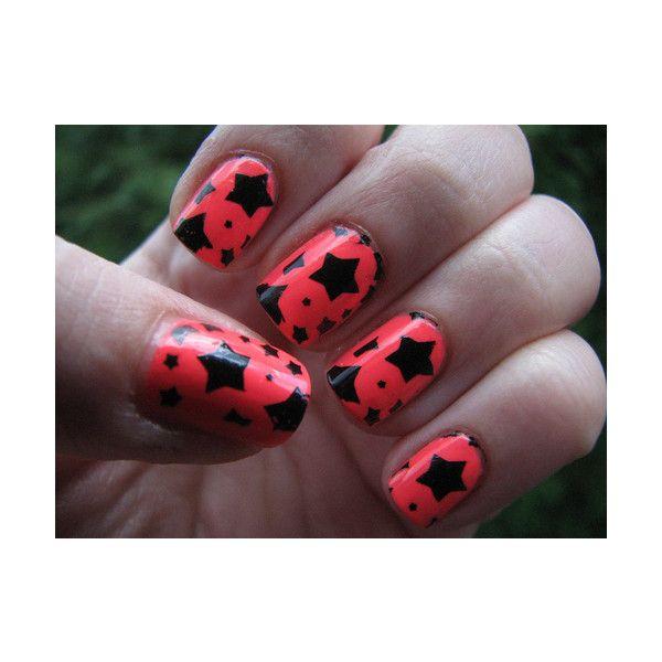 neon, bright, stars. found on Polyvore: Beautiful Makeup, Makeup Tutorials, Nails Art, Nails Design, Stars Nails, Black Stars, Art Nails, Pink Black, Red Black