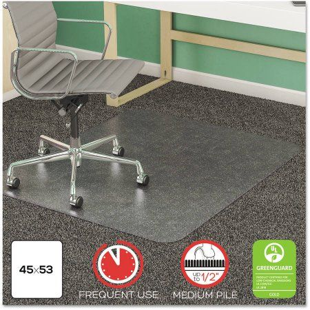 deflecto SuperMat Frequent Use Chair Mat for Medium Pile Carpet, 45 inch x 53 inch, Clear