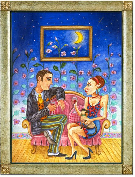 Illustration of the 1920s couple sitting side by the side on a sofa drinking red wine and enjoying each other's company as well as the company of a Siamese cat.