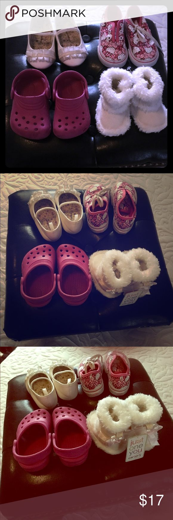 Bundle of Toddler's Girl's Shoes: Size 4 + NB ❗️Flash Sale : BUNDLE DEAL: Shoes have individual post. Please refer for detailed info. Healthtex White formal dress shoes. Hello Kitty VANS. Hot pink Jujube by Crocs slip-ons. All girls Toddler's shoes. Size 4. PreOwned. Great condition. no damage .slight wear on bottom soles. +plus NB Carter's white moccasins NWT. Vans Shoes Sneakers