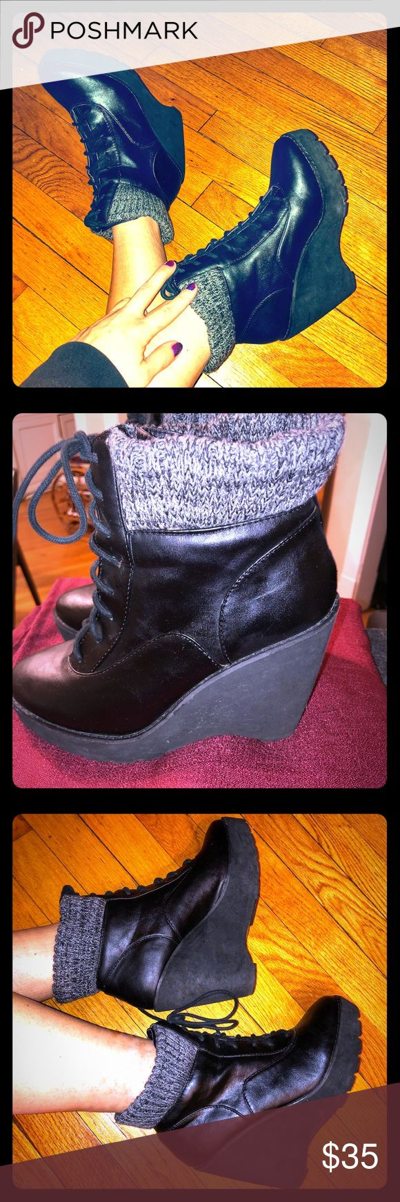 Deena & Ozzy, Black Platform Wedge w/Knit On Top💯 Deena & Ozzy, UO, Black Leather Platform Wedge w/ Gray Knit On Top, Never Worn. In Great Condition. They are SUPER Comfortable, in style, & matches with anything.💯💥🖤 Deena & Ozzy Shoes Ankle Boots & Booties