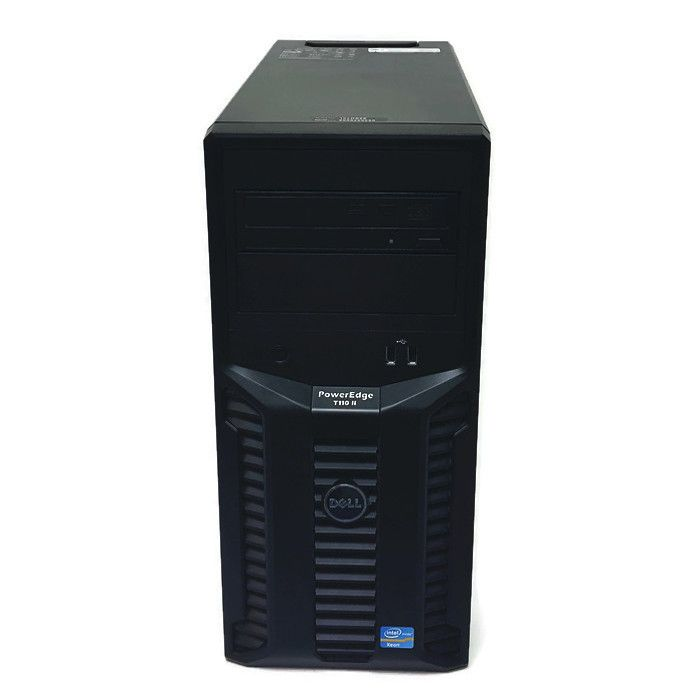 """DELL POWER EDGE T110 II COMPACT TOWER SERVER (USED) Processor: Intel® Xeon® processor CPU E31220 3.10GHz Operating System: Microsoft Windows Server 2008 R2 Standard Edition (build 7600), 64-bit Memory: 12GB DDR3 PC3-10600E RAM Front Side Bus: DMI II Sockets: 1 Cores: 4 DIMMs: 4 DDR3 Unbuffered with ECC 1333/1066MHz Min/Max RAM: 1GB/32GB Hard Drive Bays: 4 x 3.5"""" Hard Drive Types: Default SATA Optional SAS with add-in controller Embedded Hard Drive Controller: Chipset-based SATA PE"""