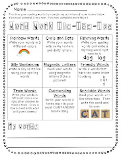 Word work tic tac toe to use at beginning of week with