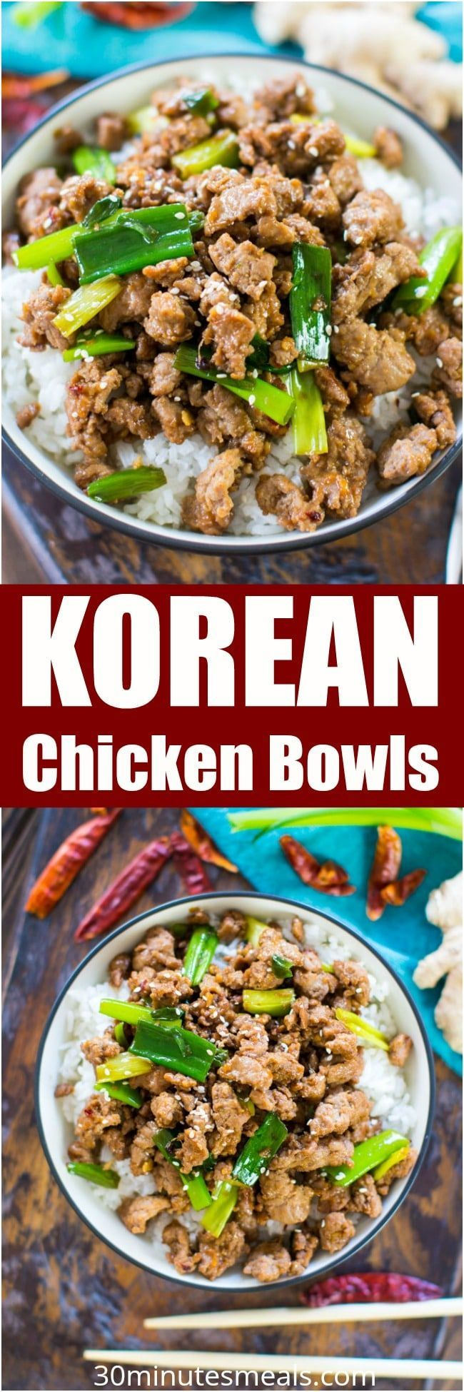 Korean Chicken Bowls are one of the easiest and tastiest dishes you can make in just under 20 minutes. Made in one pan with easy ingredients. #chicken #onepan #dinner