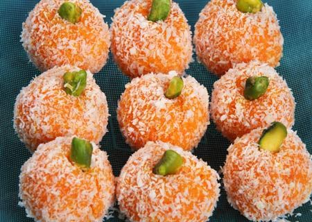 Carrot and Coconut Balls - made from cooked carrots.  Persian recipe.
