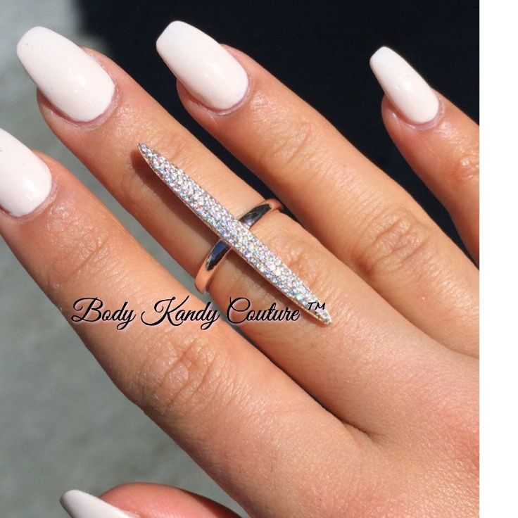 Zara Diamond Bar Ring, Body Kandy Couture, Long Ring Silver Stackable Rings Knuckle Finger Jewelry