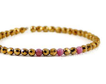 Gold Hematite Bracelet. Red Tourmaline Beads Bracelet. Stretch Elastic Cord Bracelet. Stacking Bead Bracelet.Minimalist Jewelry By GSminimal
