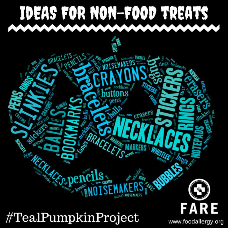 Help make Halloween a bit less scary for kids with food allergies. Participate in the #TealPumpkinProject by purchasing low-cost non-food treats to hand out - here are some ideas!