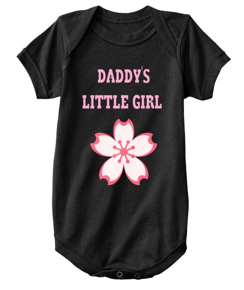 Daddy's   Little Girl Black T-Shirt Front