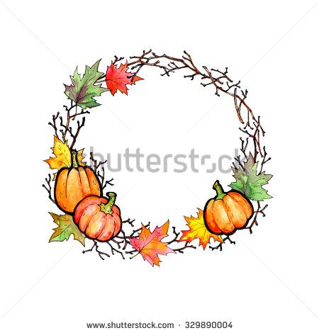 Autumn wreath - a hand-painted with watercolor and ink wreath of branches and maple leaves with three little pumpkins