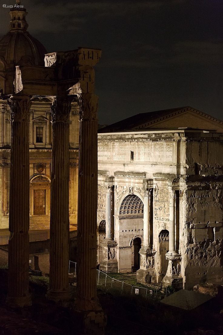 The Temple of Vespasian and Arch of Septimius Severus, Roman Forum, Rome, Italy