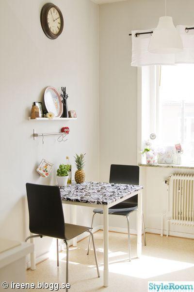 kök,matbord,matplats,prydnader,tavelhylla