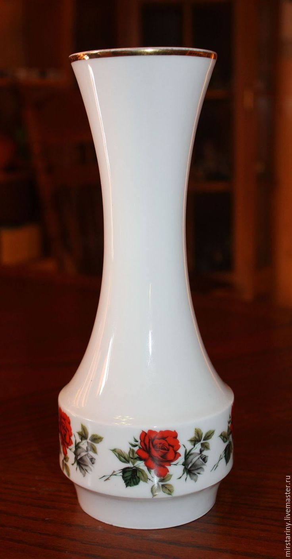 Купить Старинная, фарфоровая ваза с розами, Plankenhammer, Германия, 1928 г. - белый, бордовый цвет