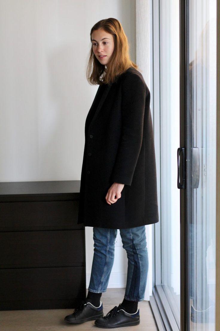 Tomboy bicolore M.i.h jeans @mihjeans - Baskets Isabel Marant Etoile Bart - Manteau Tara Jarmon