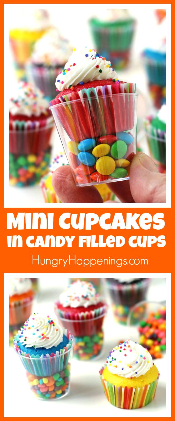 Serve Mini Cupcakes in Candy Filled Shot Glasses at your kid's birthday party or special event. They are quick and easy to make and fun to serve.