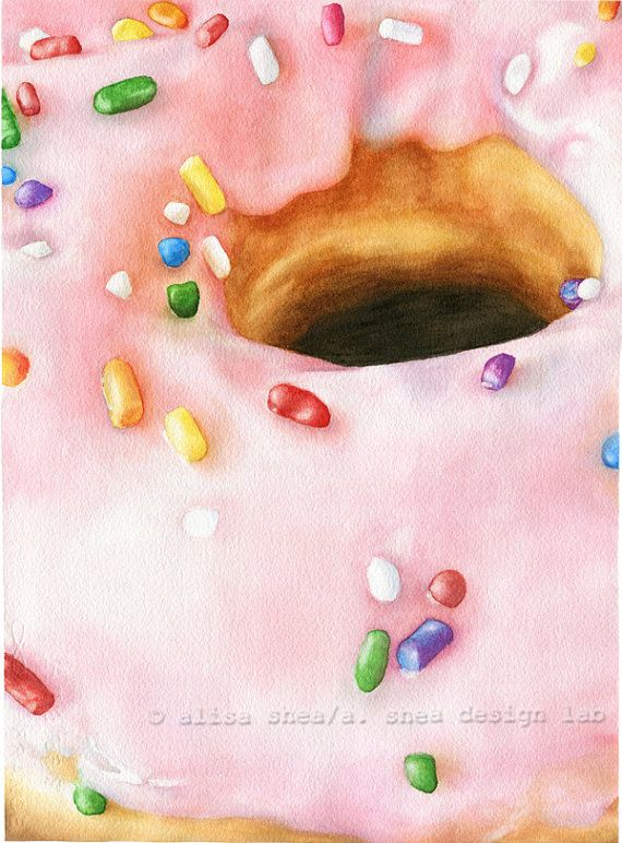 Pink donut watercolor painting by ASheaDesignLab on Etsy