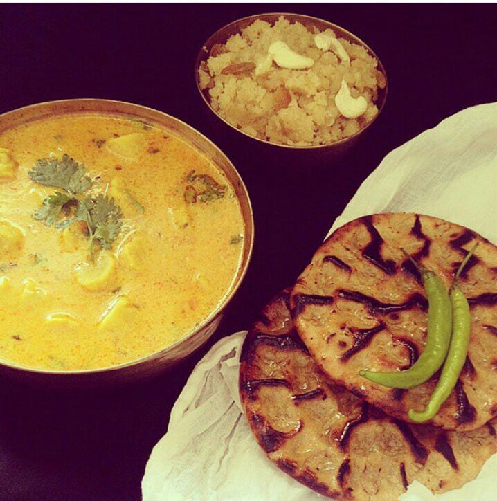 Flavours of Rajasthan: Khoba Roti, Gatte ki Sabzi, Mirch ka Achaar & Halwa