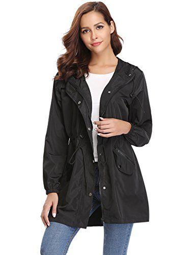 b8808f80173 Abollria Veste De Pluie Femme Manteau Imperméable Poncho Pluie à Capuche  Zippé Cape de Pluie Manches Longues Coup Vent Raincoat …