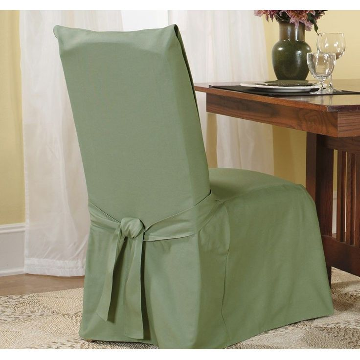 Sure Fit Cotton Classic Dining Chair Slipcover (Sage), Green (Solid)
