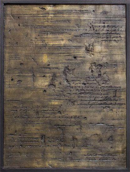 Tanya Bonello, Fine lines study, 400x300mm, gypsum and oil on board, 2013