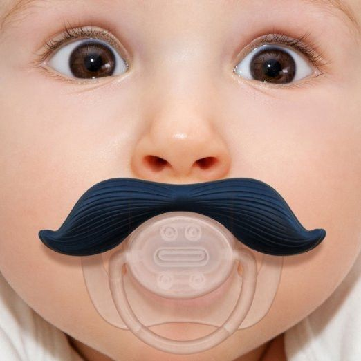 Mustace Baby Pacifier Features: - Silicone, Plastic - Ages 0-6 months - BPA-free and PVC-free - Snap-on hygienic cap - Natural orthodontic shape - Silicone teat The Mustachifier Pacifier. One Size Fit