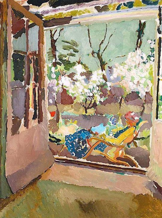 Vanessa Bell at Home .Charleston House Sussex - Duncan Grant 1919 Scottish 1885-1978